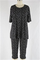 Short Sleeve Capri Set - black with white polka dots - poly/spandex