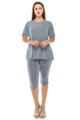 Short Sleeve Capri Set - grey - poly/spandex