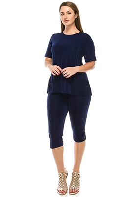 Short Sleeve Capri Set - navy - poly/spandex