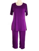 Short Sleeve Capri Set - purple - poly/spandex