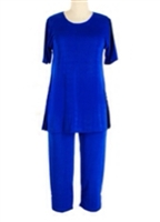 Short Sleeve Capri Set - royal blue - poly/spandex