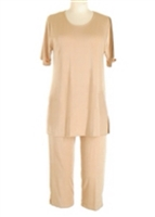 Short Sleeve Capri Set - taupe - poly/spandex