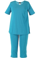 Short Sleeve Capri Set - turquoise - poly/spandex
