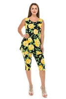 Sleeveless Capri Set - yellow rose print - poly/spandex