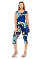 Sleeveless Capri Set - royal blue/turquoise geo print - poly/spandex