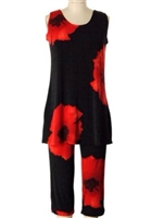 Sleeveless Capri Set - red big flower - poly/spandex