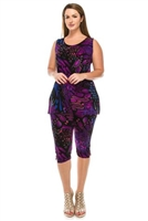 Sleeveless Capri Set - blue/purple print - poly/spandex