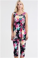 Sleeveless Capri Set - black with pink/yellow flowers - poly/spandex