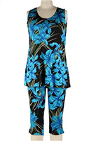 Sleeveless Capri Set - blue iris - poly/spandex
