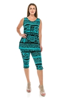 Sleeveless Capri Set - blue Aztec print - poly/spandex