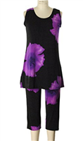 Sleeveless Capri Set - purple big flower prints - poly/spandex