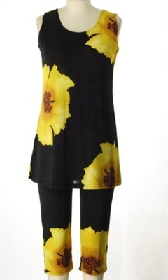 Sleeveless Capri Set - yellow big flower - poly/spandex