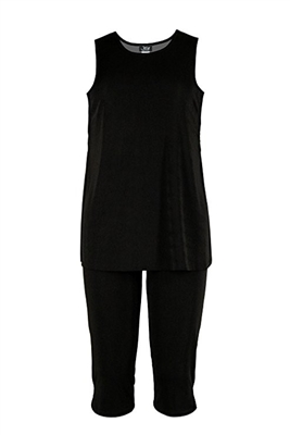 Sleeveless Capri Set - black - poly/spandex