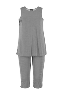 Sleeveless Capri Set - grey - poly/spandex