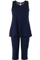Sleeveless Capri Set - navy - poly/spandex