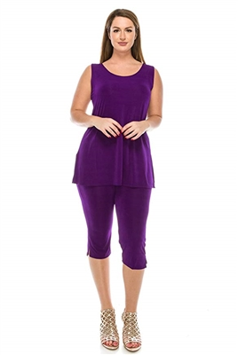 Sleeveless Capri Set - purple - poly/spandex