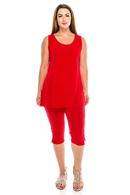 Sleeveless Capri Set - red - poly/spandex