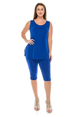 Sleeveless Capri Set - royal blue - poly/spandex