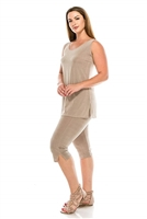 Sleeveless Capri Set - taupe - poly/spandex
