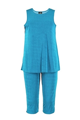 Sleeveless Capri Set - turquoise - poly/spandex