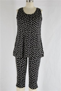 Sleeveless Capri Set - black/white polka dots - poly/spandex