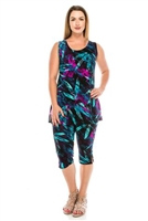 Sleeveless Capri Set - turquoise/purple leafy print  - poly/spandex