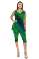 Sleeveless Capri Set - green tie dye print - poly/spandex