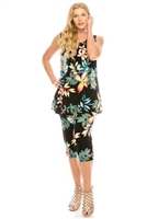 Sleeveless Capri Set - black/tropical flowers - poly/spandex