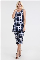 Sleeveless Capri Set - navy/white checkered print - poly/spandex