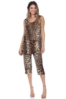 Sleeveless Capri Set - brown leopard - poly/spandex