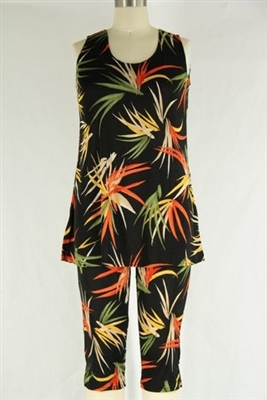 Sleeveless Capri Set - black with colorful leaves - poly/spandex