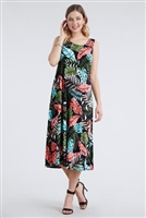 Long tank dress - olive/coral palms - polyester/spandex