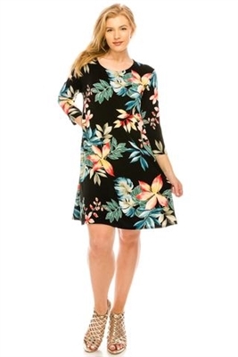 3/4 sleeve short dress - black/tropical flowers - polyester/spandex