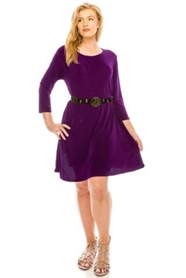 3/4 sleeve short dress - purple - polyester/spandex