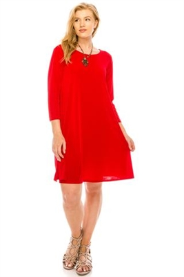 3/4 sleeve short dress - red - polyester/spandex