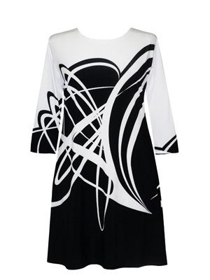 3/4 sleeve dress - white bold curves on black