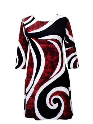 3/4 sleeve dress - red white and black bold curves