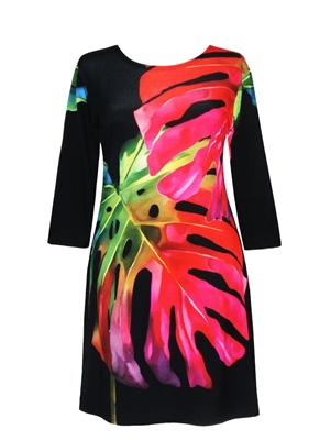 3/4 sleeve dress - large red jungle leaves