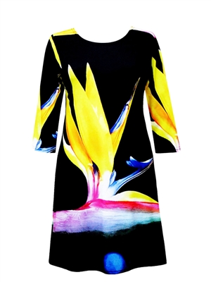 3/4 sleeve dress - yellow birds of paradise