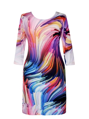 3/4 sleeve dress - colorful wavy lines