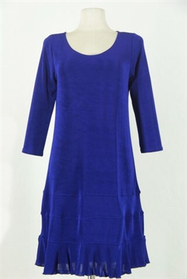3/4 sleeve short dress - royal blue - acetate/spandex