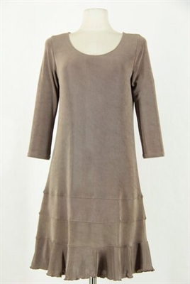 3/4 sleeve short dress - taupe - acetate/spandex