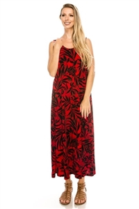 Long tank dress - red/black print - polyester/spandex
