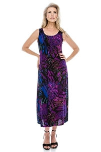 Long tank dress - blue/purple print - polyester/spandex