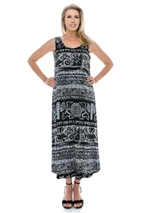 Long tank dress - black/white Aztec print - polyester/spandex
