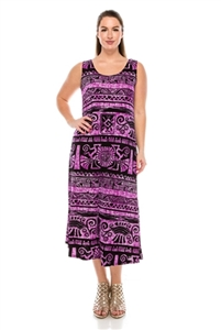 Long tank dress - purple/black Aztec print - polyester/spandex