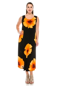Long tank dress - orange big flower - polyester/spandex