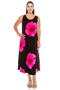 Long tank dress - pink big flower - polyester/spandex
