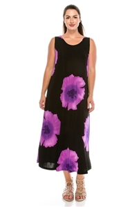 Long tank dress - purple big flower - polyester/spandex