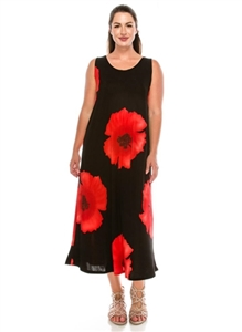 Long tank dress - red big flower - polyester/spandex
